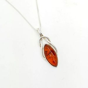 Jewelry - Celtic Knot Marquise Baltic Amber Pendant